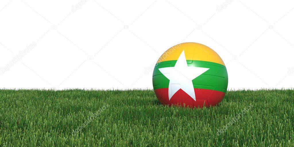 Myanmar new flag soccer ball lying in grass
