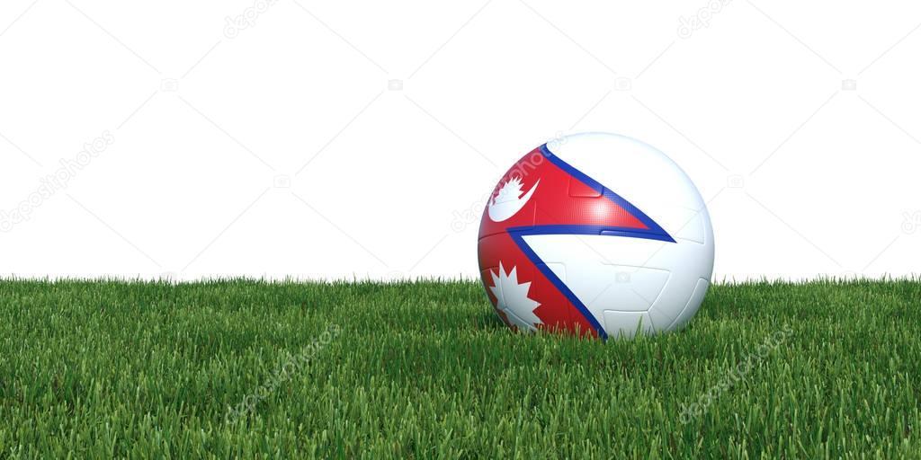 Nepalese Nepal flag soccer ball lying in grass