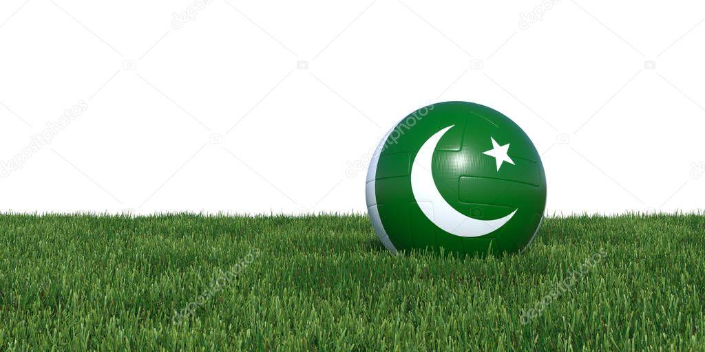Pakistan Pakistani flag soccer ball lying in grass