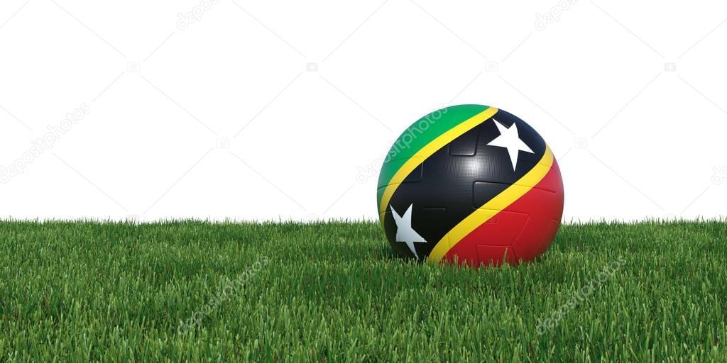 Saint Kitts and Nevis flag soccer ball lying in grass