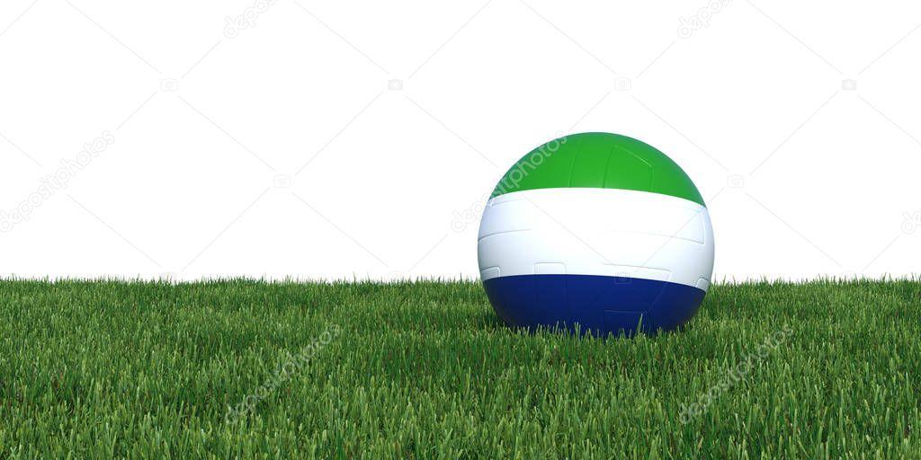 Sierra Leone flag soccer ball lying in grass