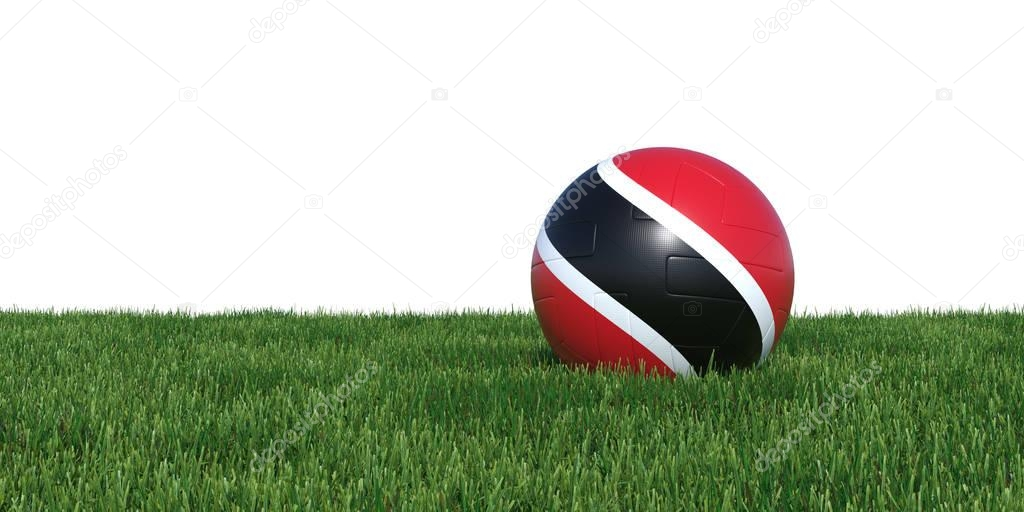 Trinidad and Tobago flag soccer ball lying in grass