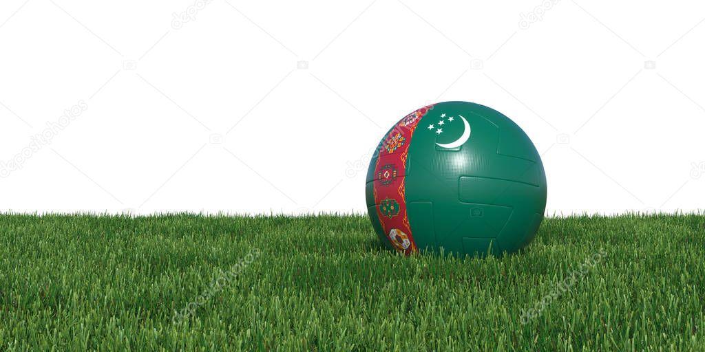 Turkmenistan flag soccer ball lying in grass