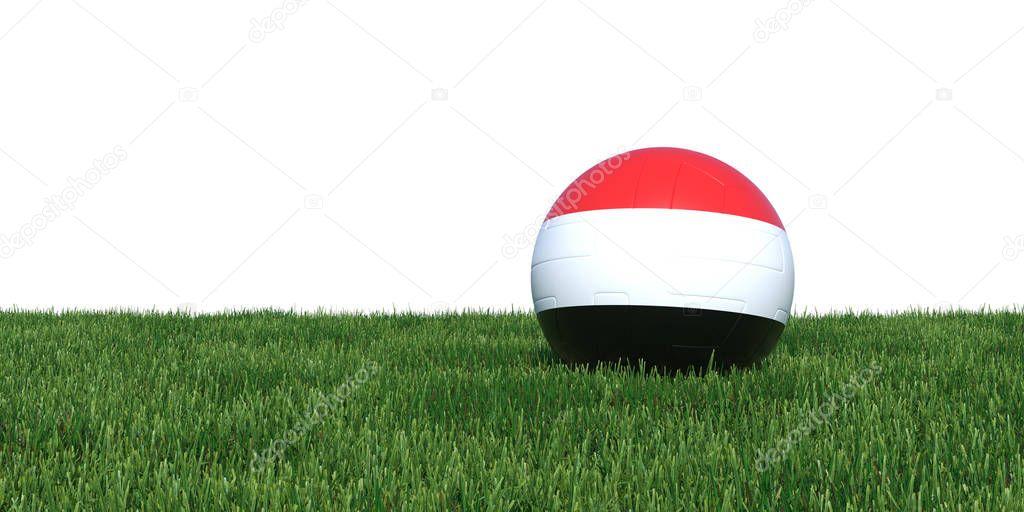 Yemen Yemeni Yemenite flag soccer ball lying in grass