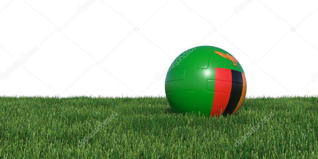Zambia Zambian flag soccer ball lying in grass