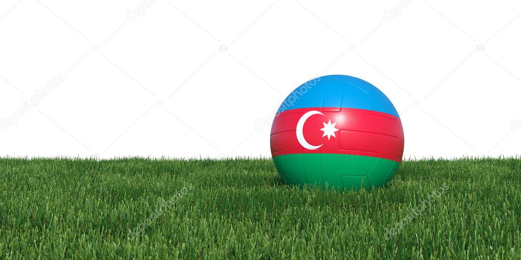 Azerbaijan flag soccer ball lying in grass