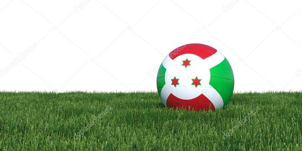Burundian burundi flag soccer ball lying in grass