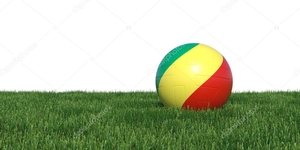 Congo Congolese old flag soccer ball lying in grass