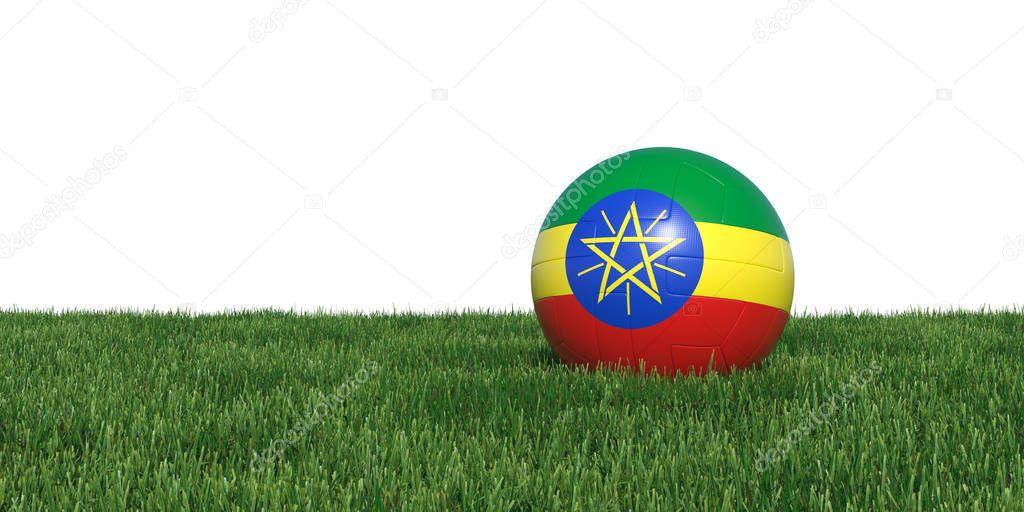Ethiopia Ethiopian flag soccer ball lying in grass
