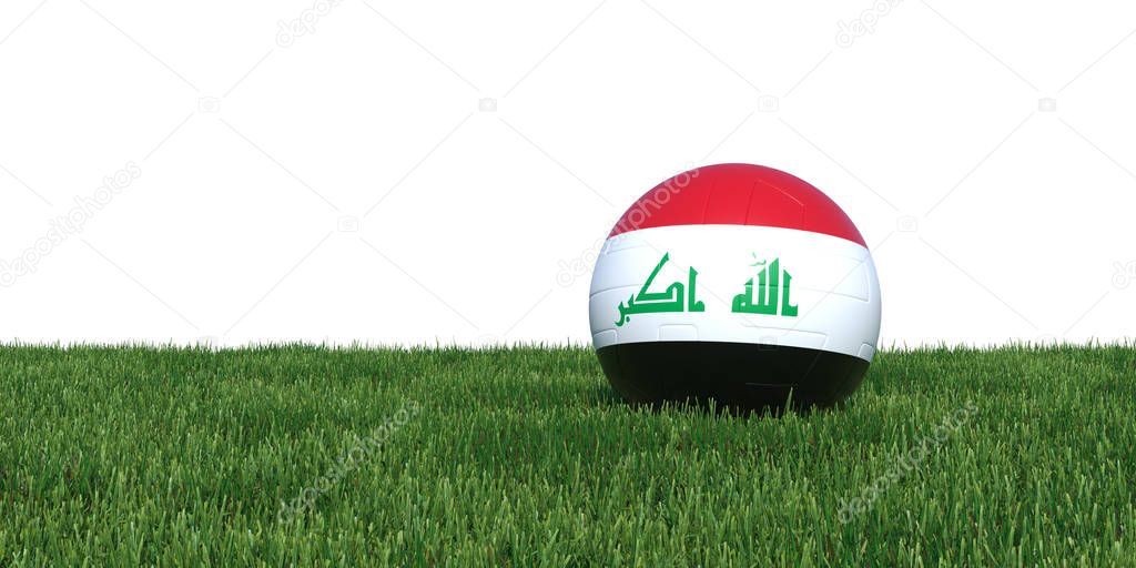 Iraq Iraqi flag soccer ball lying in grass