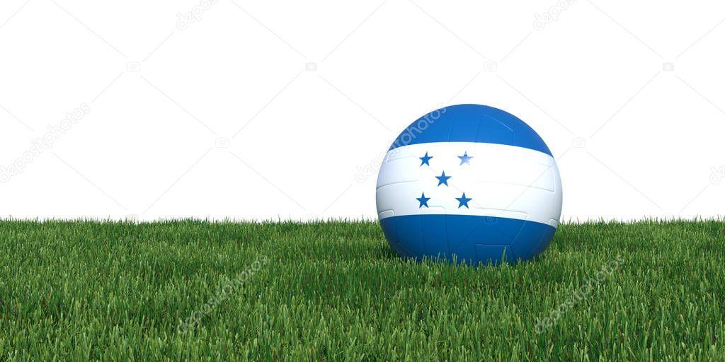 Honduras Honduran flag soccer ball lying in grass
