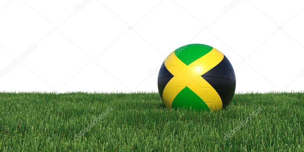 jamaica Jamaican flag soccer ball lying in grass