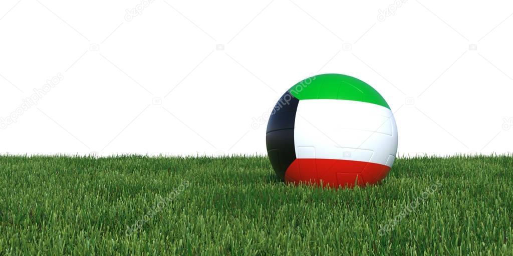 Kuwait Kuwaiti flag soccer ball lying in grass