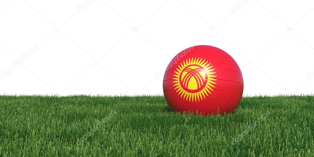 Kyrgyzstan flag soccer ball lying in grass