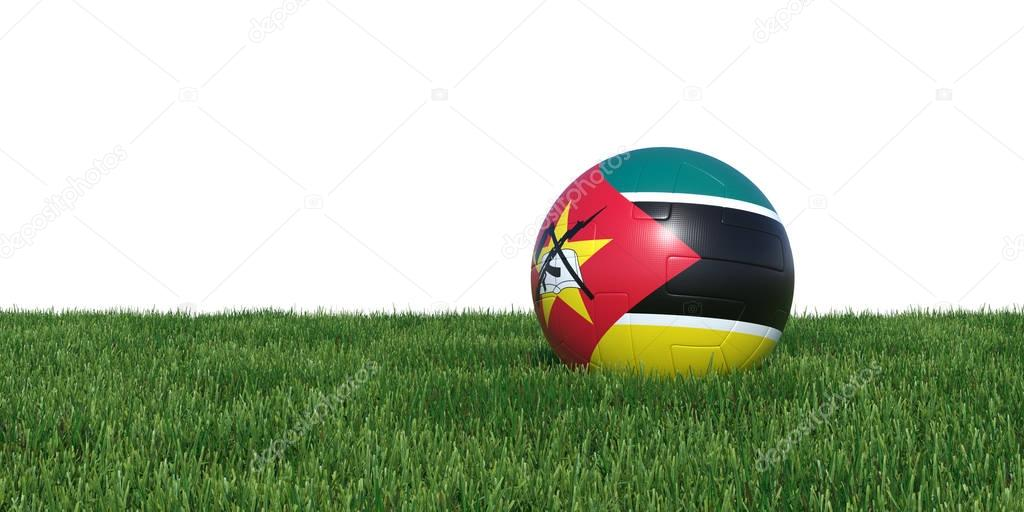 Mozambique Mozambican flag soccer ball lying in grass