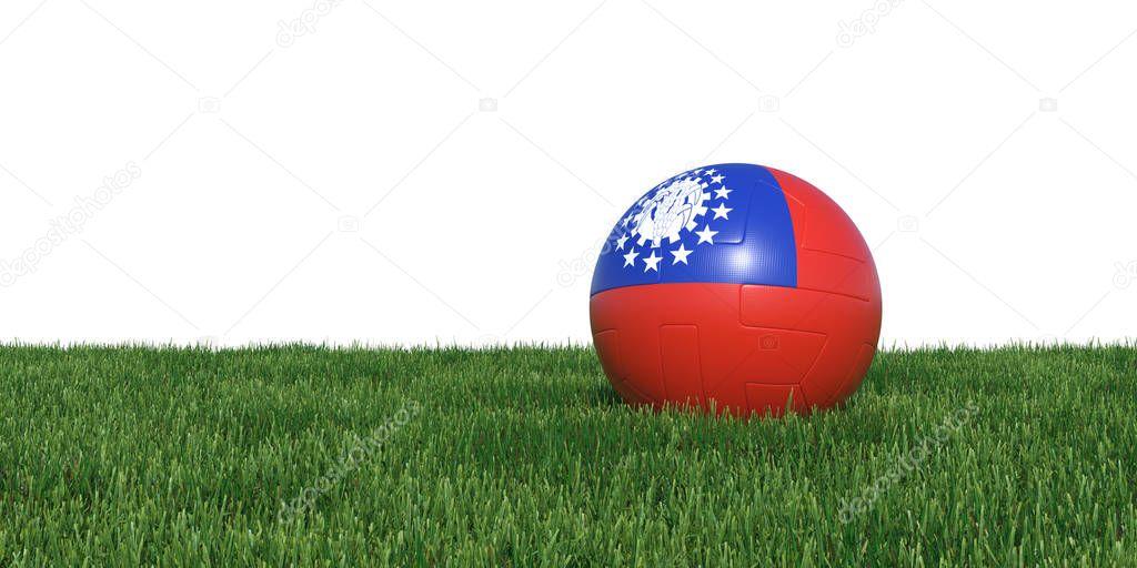 Myanmar Old flag soccer ball lying in grass