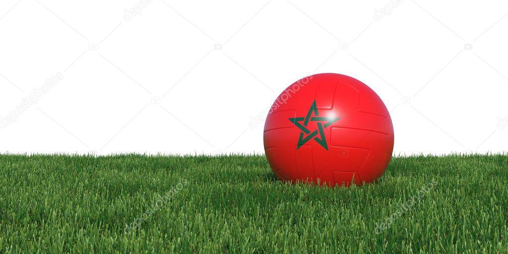 Morocco Moroccan flag soccer ball lying in grass