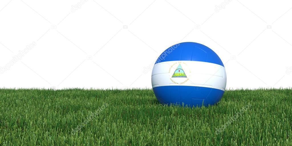 Nicaragua Nicaraguan flag soccer ball lying in grass