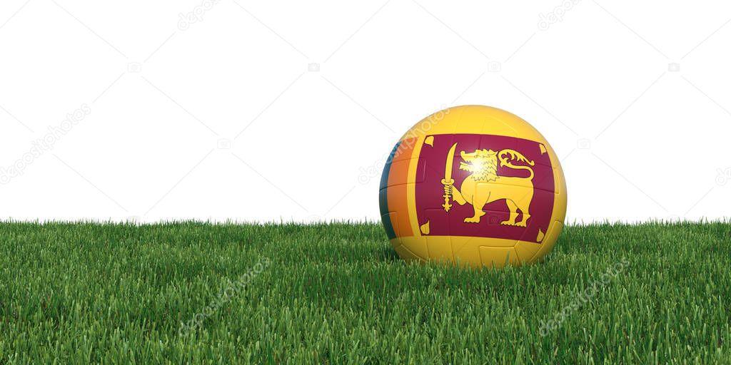 Sri lanka flag soccer ball lying in grass
