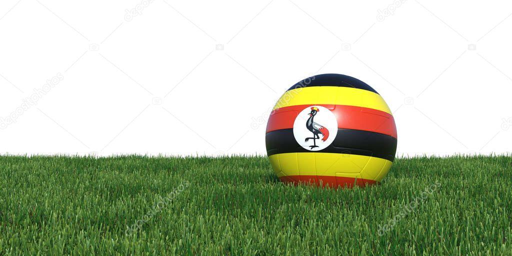 Uganda Ugandan flag soccer ball lying in grass