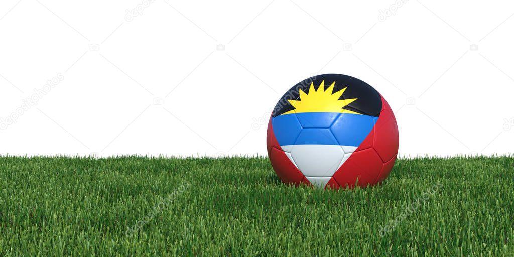 Antiguan Antigua and Barbuda flag soccer ball lying in grass