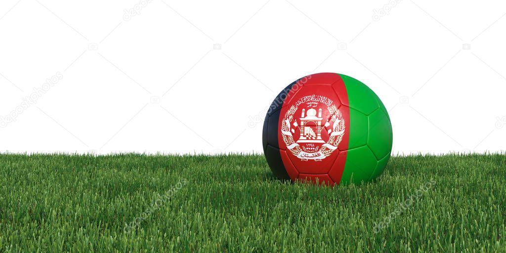 Afghanistan flag soccer ball lying in grass