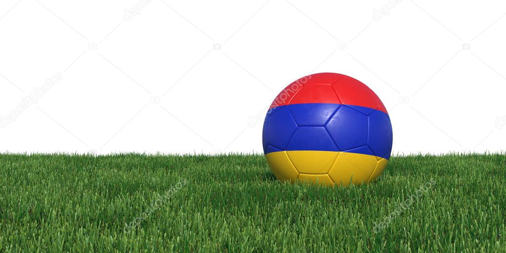 Armenia Armenian flag soccer ball lying in grass