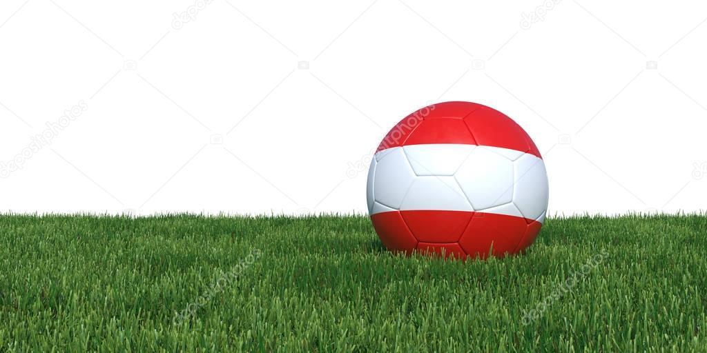 Austria Austrian flag soccer ball lying in grass