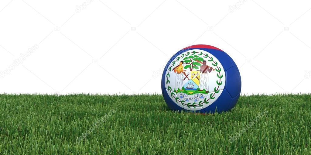 Belize Belizean flag soccer ball lying in grass