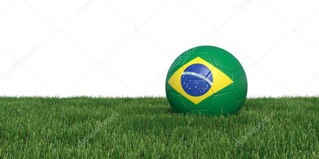 Brazil Brazilian flag soccer ball lying in grass