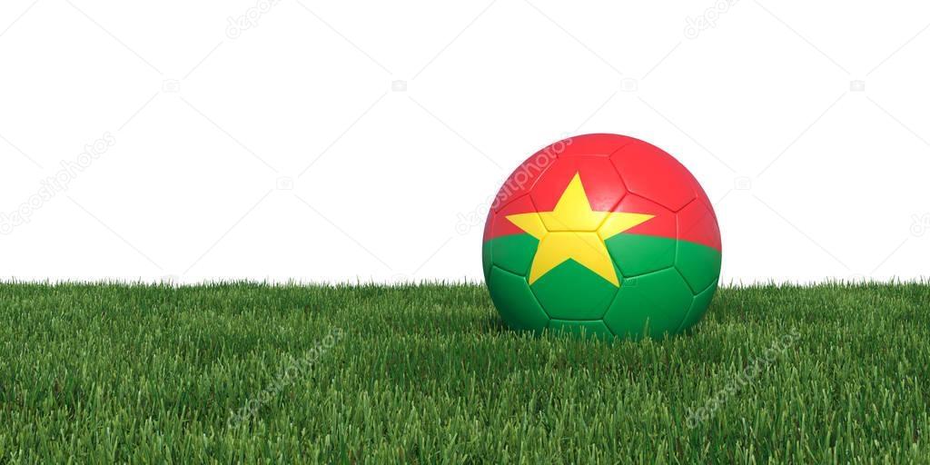 Burkina Faso flag soccer ball lying in grass