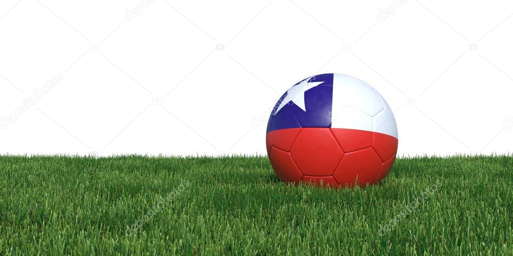 Chile Chilean flag soccer ball lying in grass