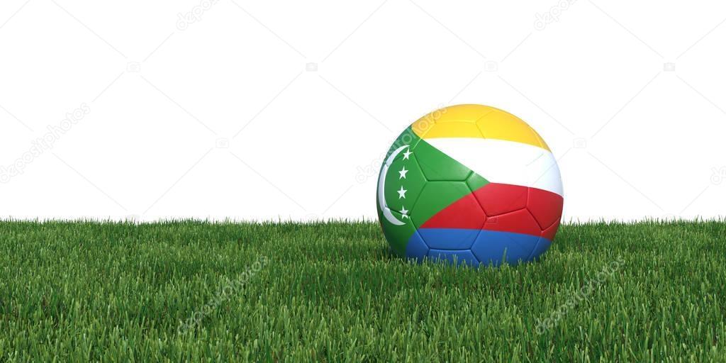 Comoros Comoran flag soccer ball lying in grass