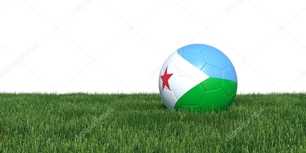 Djibouti Djiboutian flag soccer ball lying in grass