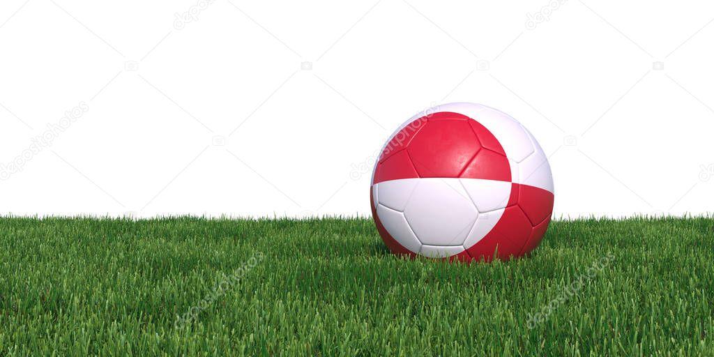 Greenland flag soccer ball lying in grass