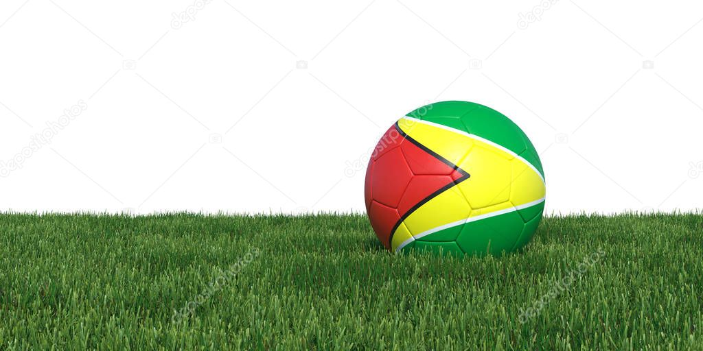 Guyana Guyanese flag soccer ball lying in grass