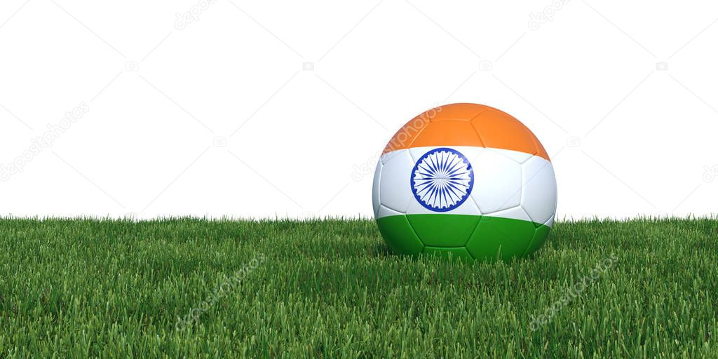 India Indian flag soccer ball lying in grass