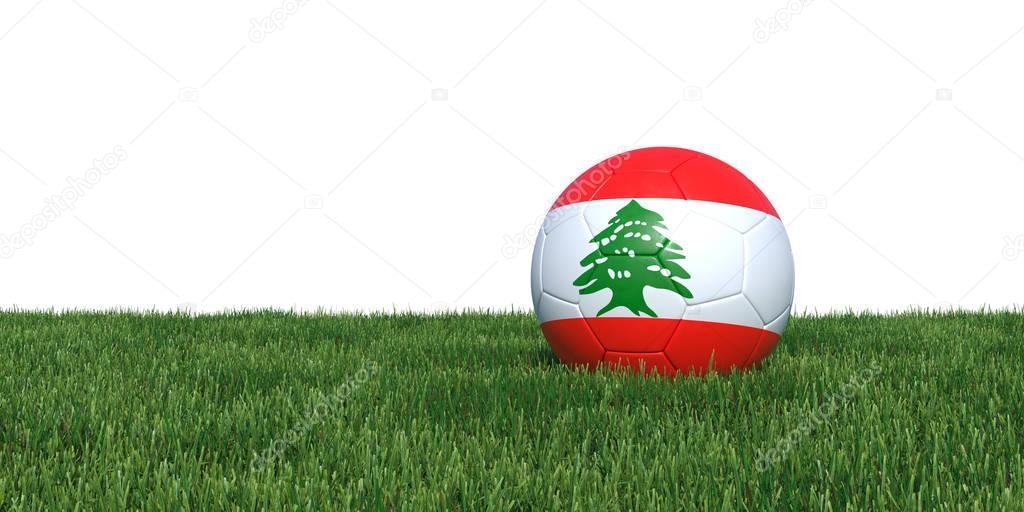 Lebanon Lebanese flag soccer ball lying in grass