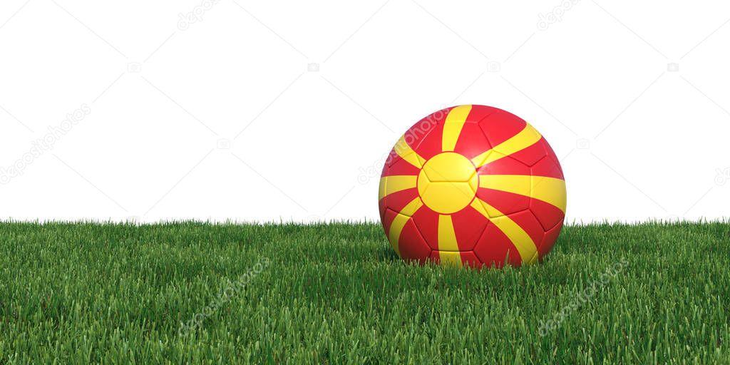 Macedonia Macedonian flag soccer ball lying in grass