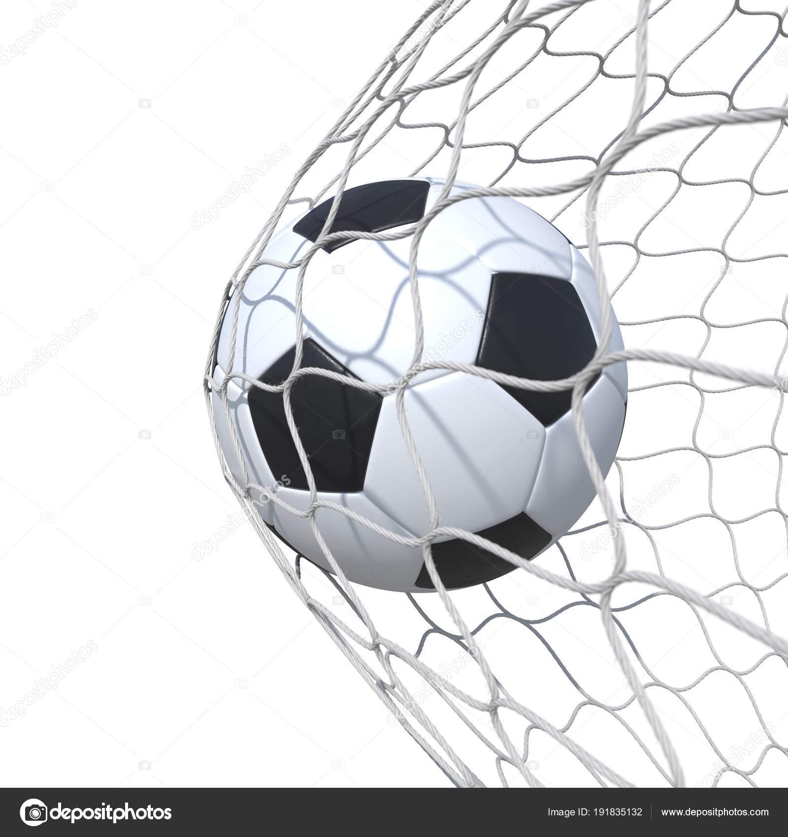 Balón de fútbol de cuero estándar dentro de la red a95d9b2fd20e1