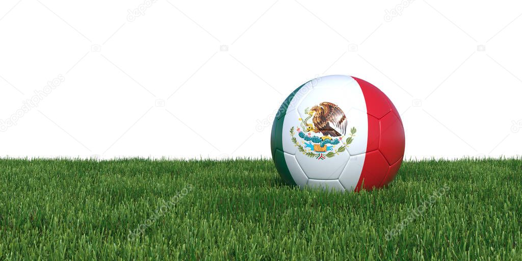 Mexico Mexican flag soccer ball lying in grass