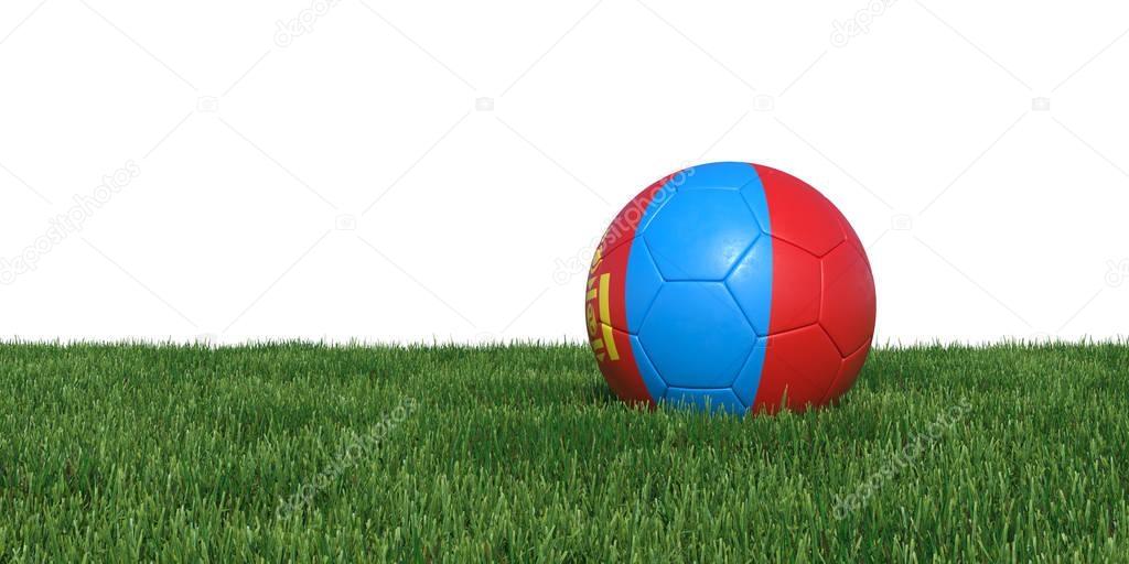 Mongolia Mongolian flag soccer ball lying in grass