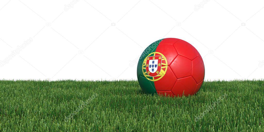 Portugal Portuguese flag soccer ball lying in grass