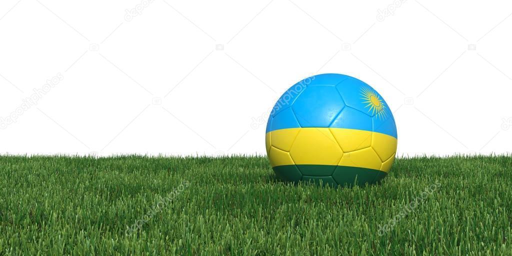 Rwanda Rwandan flag soccer ball lying in grass