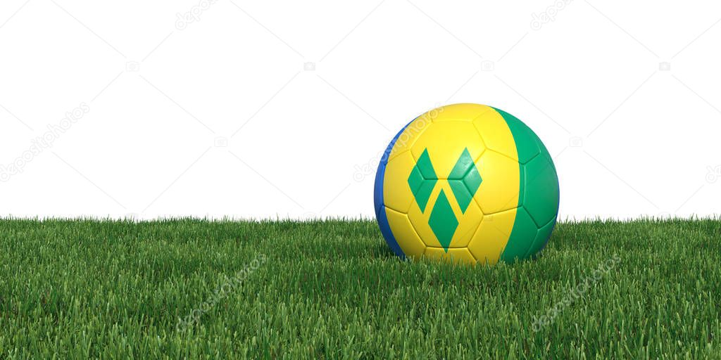 Saint Vincent and the Grenadines flag soccer ball lying in grass
