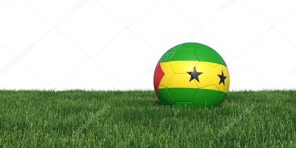 Sao Tome and Principe flag soccer ball lying in grass