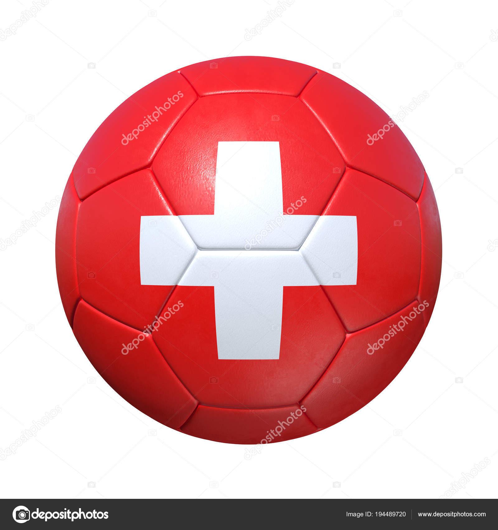fcc1e81018299 Bola de futebol suíço Suíça com bandeira nacional — Fotografia de Stock