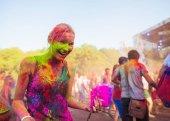 girl celebrate holi festival