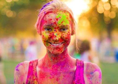 Girl celebrate holi festival stock vector