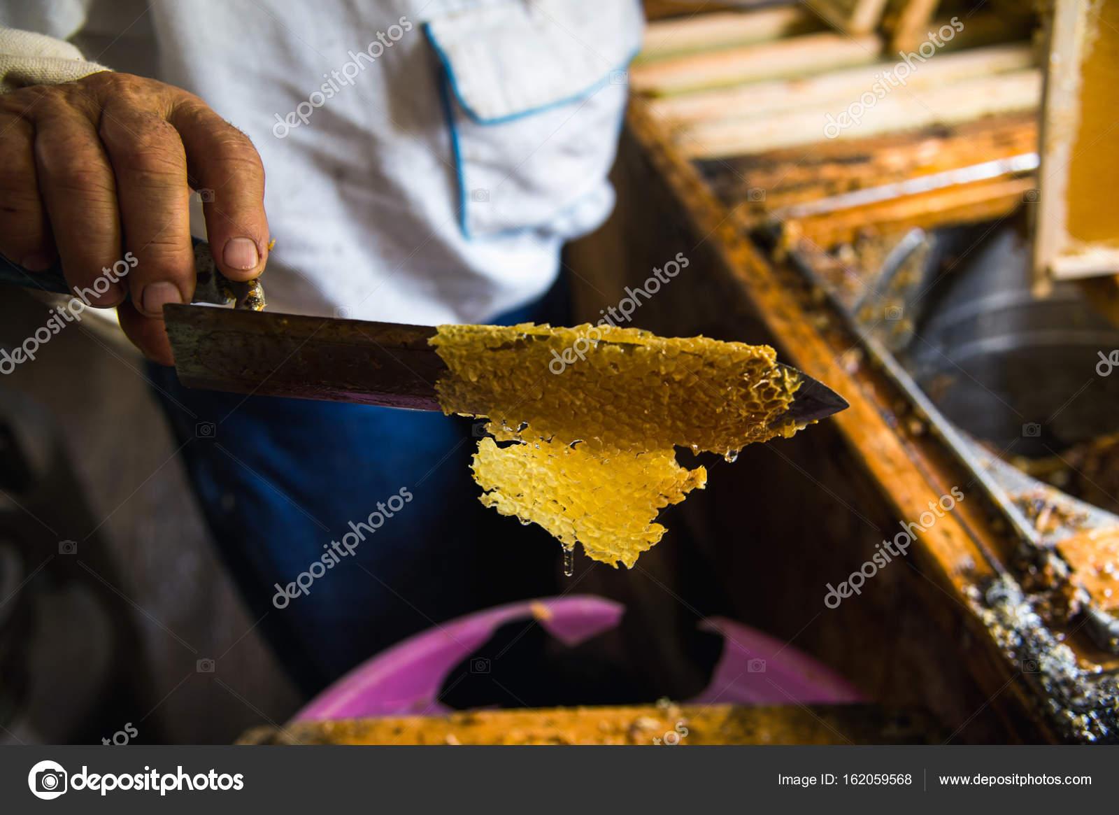 Mans mano y un cuchillo especial para cortar una cera de un marco de ...